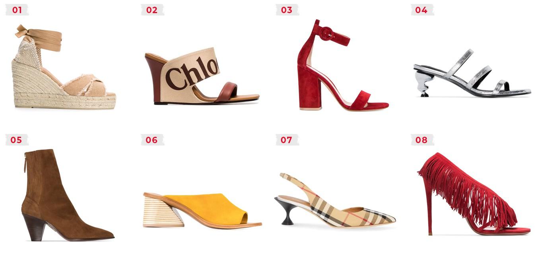 diferentes tipos de saltos na moda de calçados