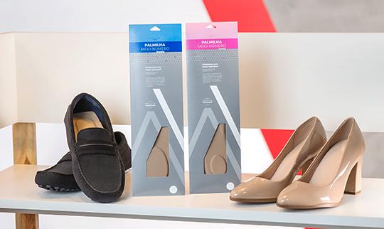 Palmilhas meio-número palterm aplicadas em calçados